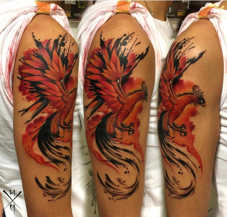 phoenix tattoo on shoulder by Nikolai Chekov