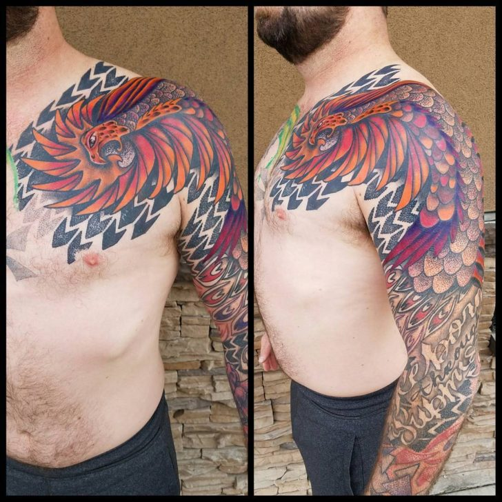 phoenix tattoo sleeve by Jessica Vann