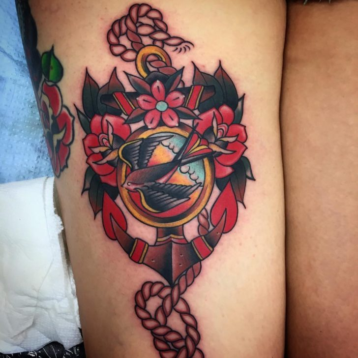 traditional anchor tattoo by Anthony Lira