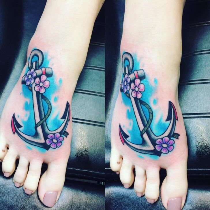 watercolor anchor tattoo by Kris Dryden