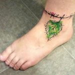 Ankle Leaf Watercolor Tattoo
