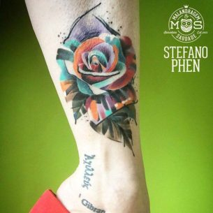 Ankle Rose Tattoo Colorful