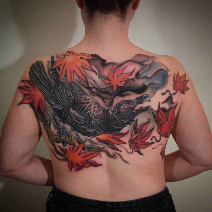 oriental tattoo crow on back