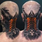Biomechanical tattoo 3D on neck back