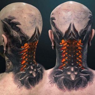 Biomechanical Neck Tattoo