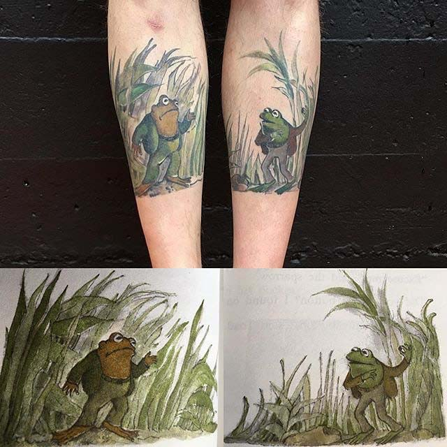 frog tattoos on shin