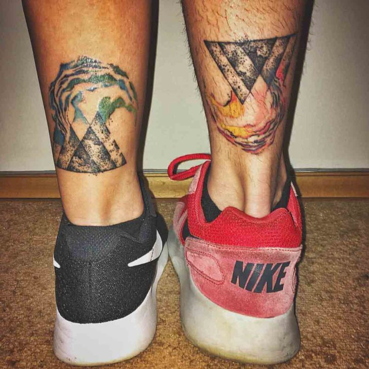 ankle couple tattoos geometric style