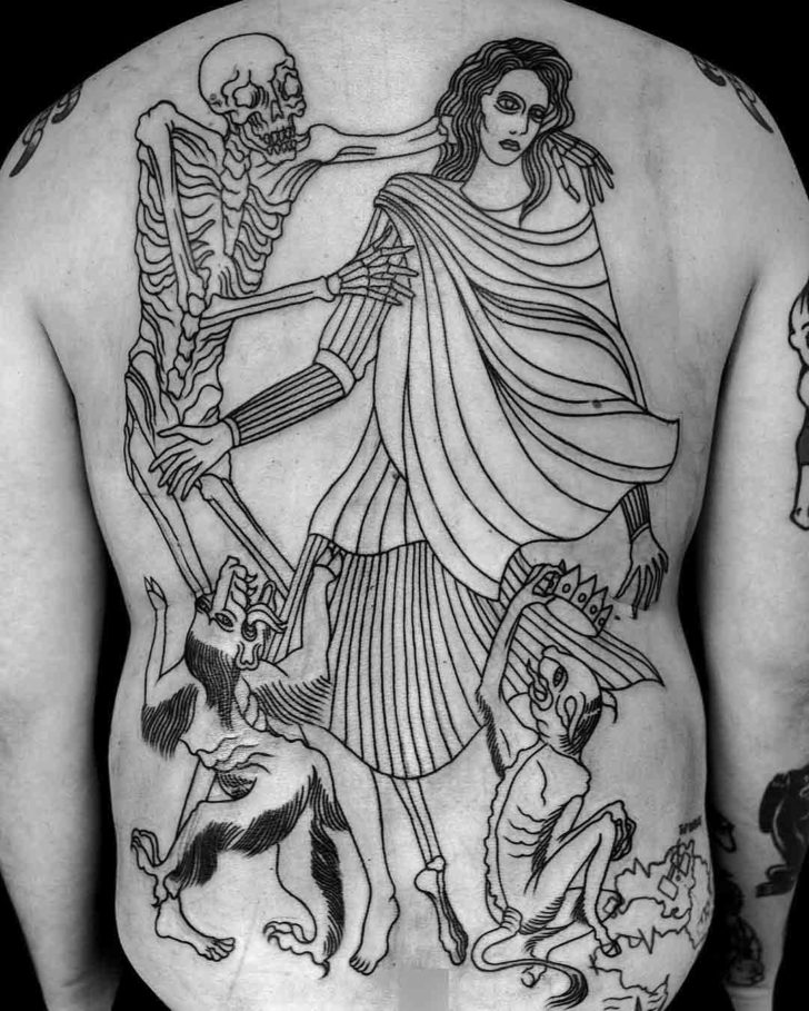 full back dance of death tatoo medieval style
