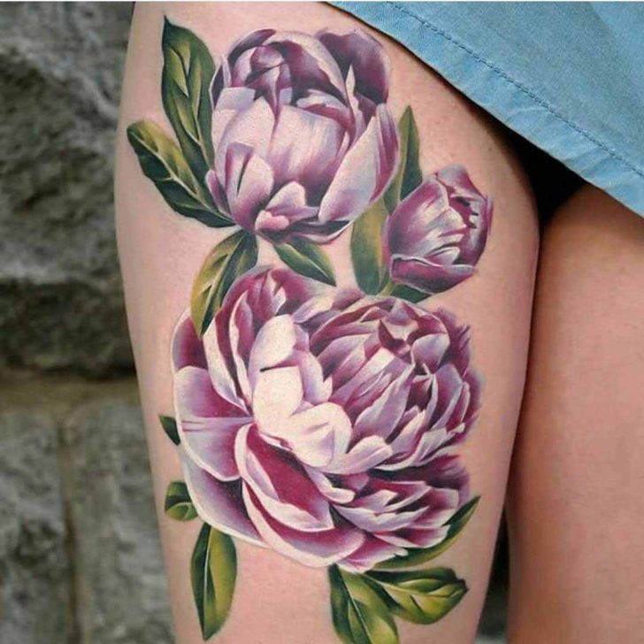 thigh tattoo flowers