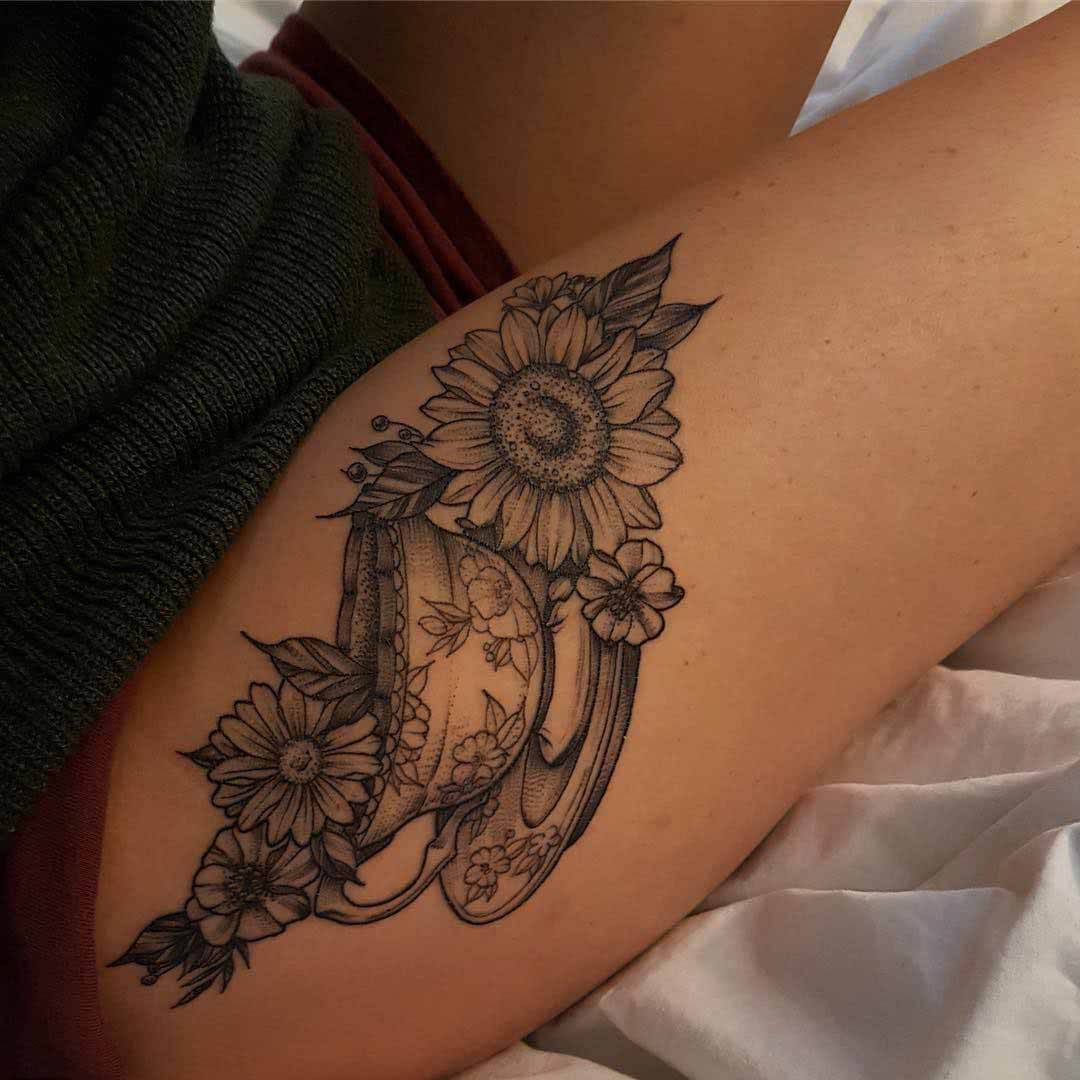 flowers tattoo on hip girl tattoo