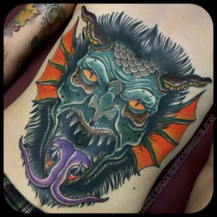Insane Demon Tattoo on Stomach