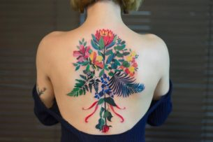 Interesting Flowers Tattoo on Back