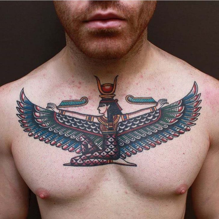 egyptian goddess tattoo on chest Isis