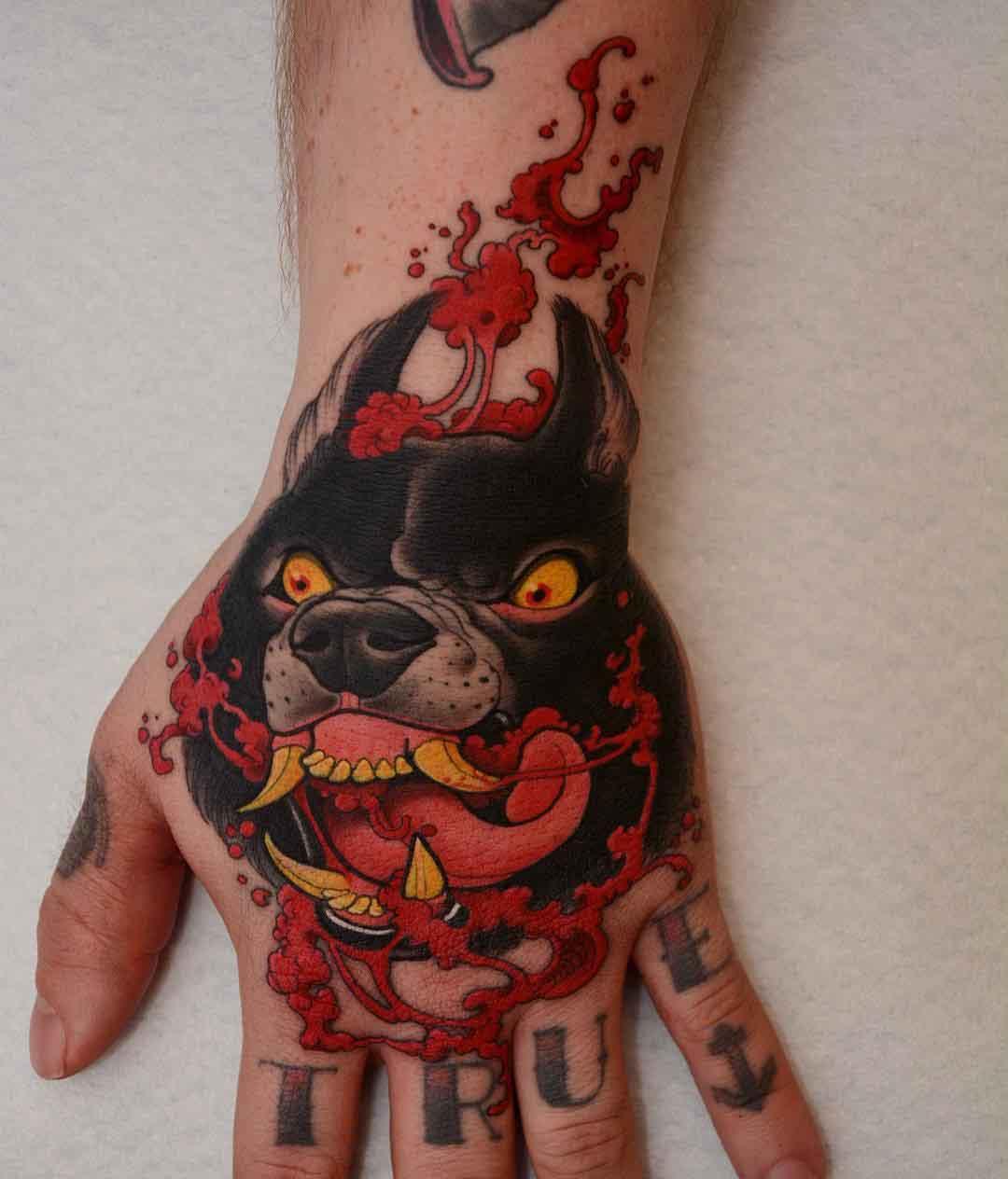 hand tattoo mad dog