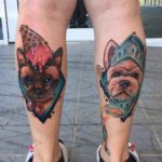 New School Cat and Dog Tattoos