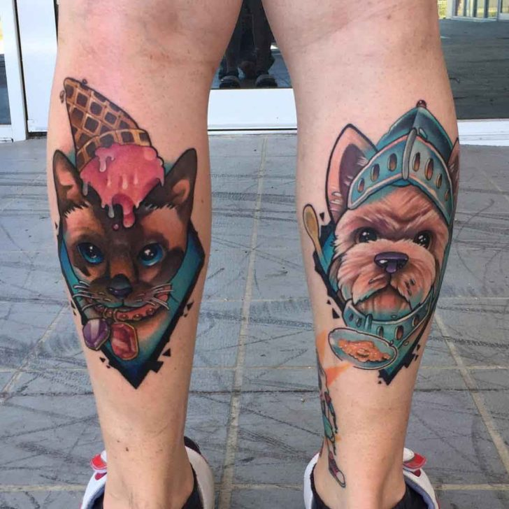 calf tattoos cat and dog new school style