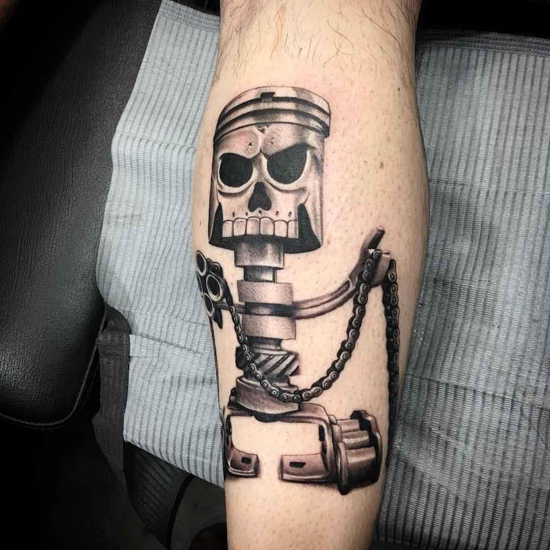 robot tattoo piston