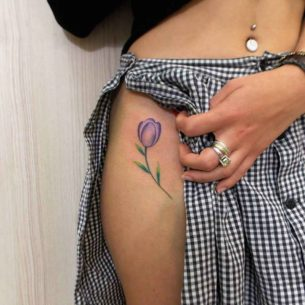 Purple Tulip Tattoo