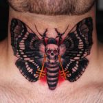 Skull Butterfly Tattoo on Nech