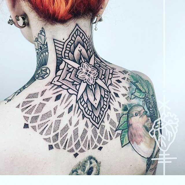 back neck tattoo girl nape dotwork mandala-like