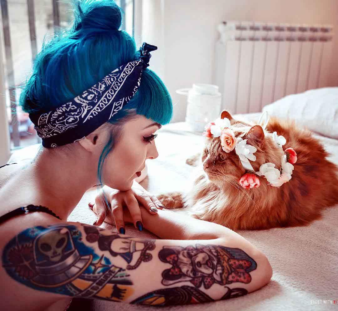 blue hair girl pin up tattoo