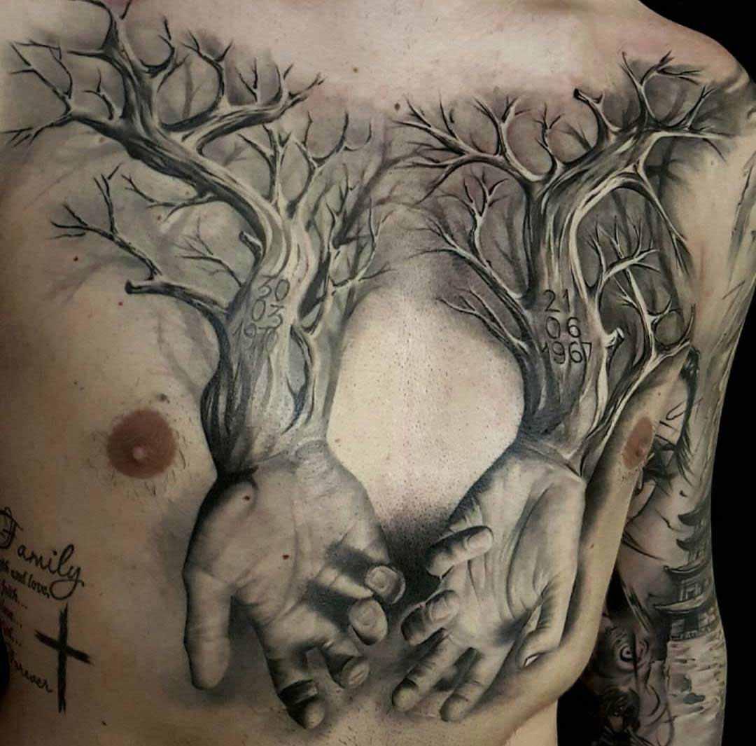 chest tattoo woden hands