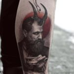 Devil Man Tattoo on Calf