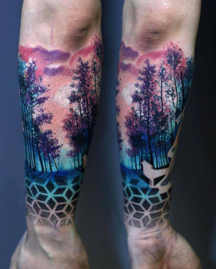 wrist tattoo forest sleeve