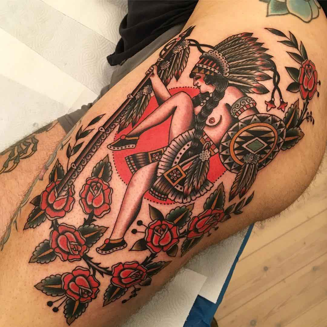 traditional tattoo on hip Indian style