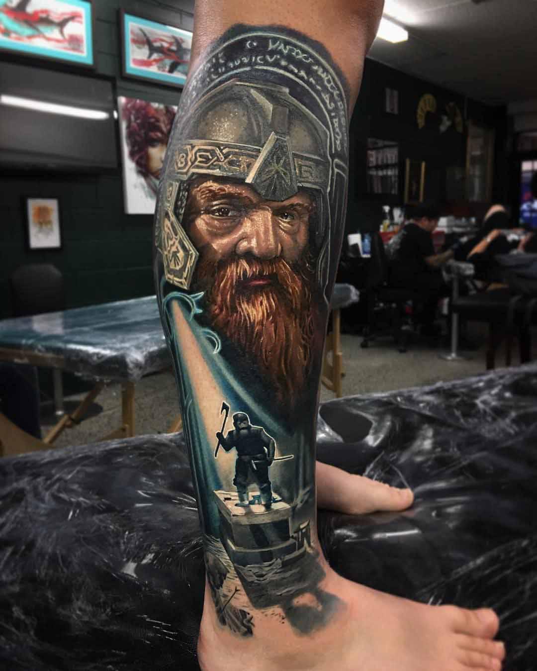 LOTR Tattoo on leg Gimli dwarf