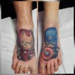 ironman tattoo and captain america tattoo on feet