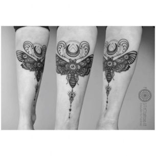 Moth Tattoo with Moon