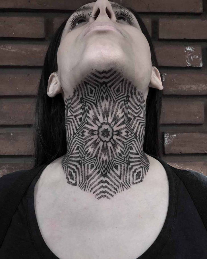 under neck tattoo geometric