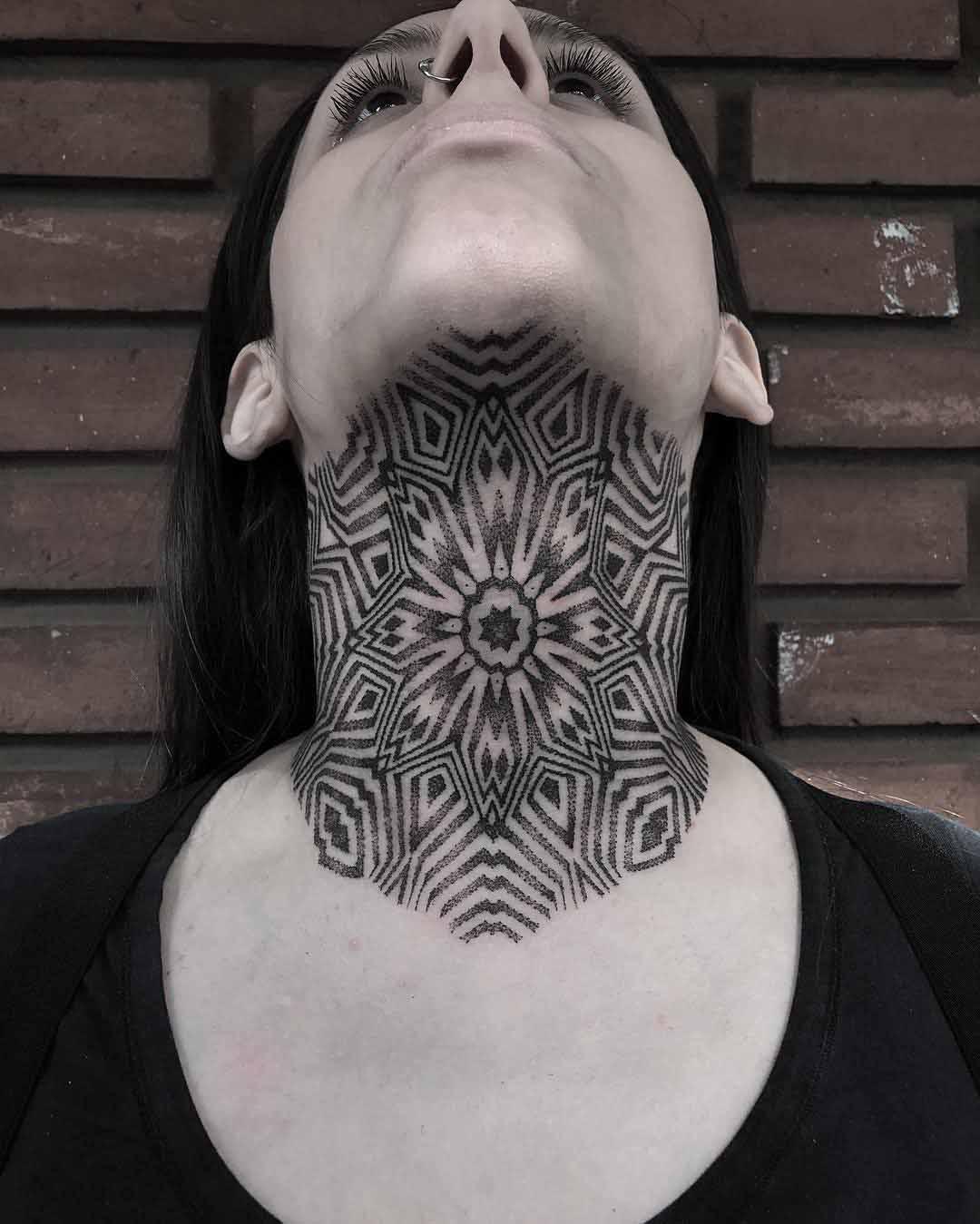 under neck tattoo geometric