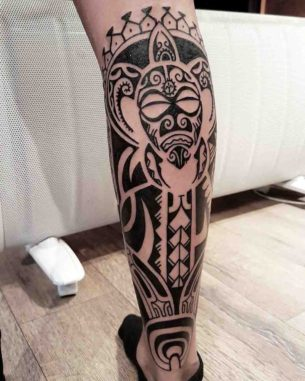 Polynesian Calf Tattoo
