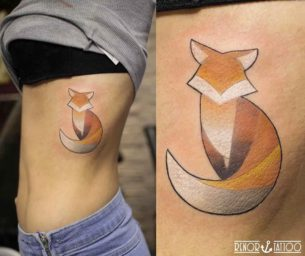 Simple Fox Tattoo on Ribs