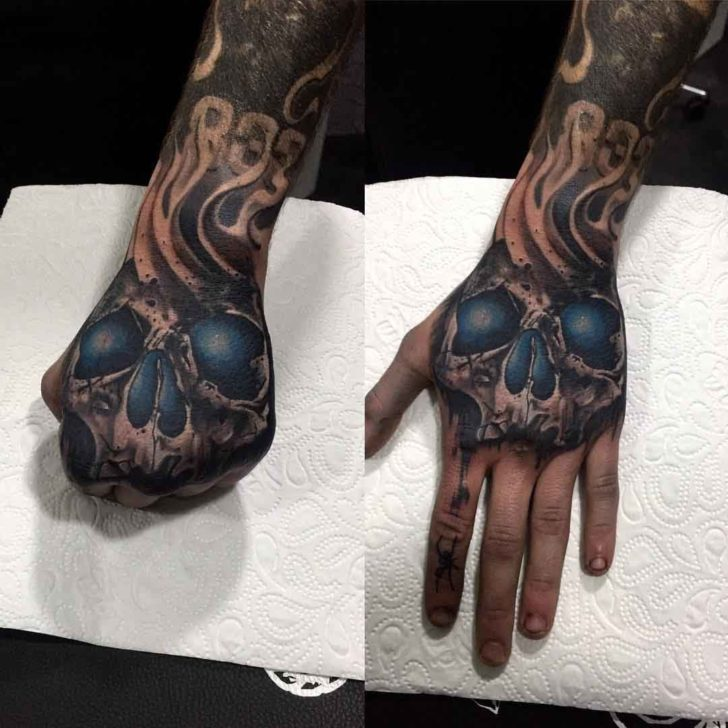 Skull Hand Tattoo Blue Eyes Best Tattoo Ideas Gallery