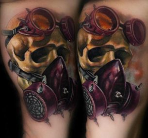 Skull in Gas Mask Tattoo