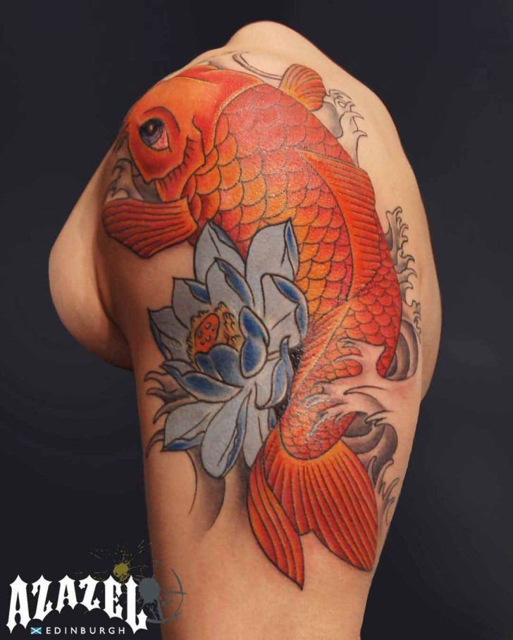 shoulder Koi fish tattoo
