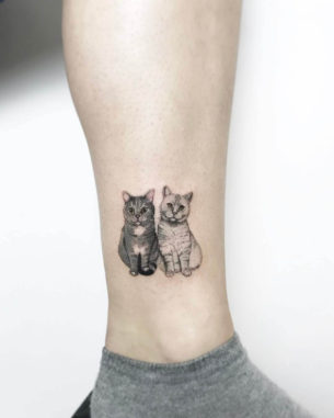 Two Cats Tattoo