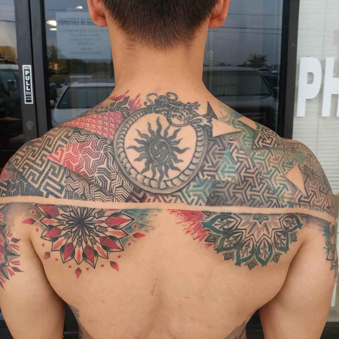 back tattoo geometric