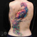 Watercolor Peacock Tattoo