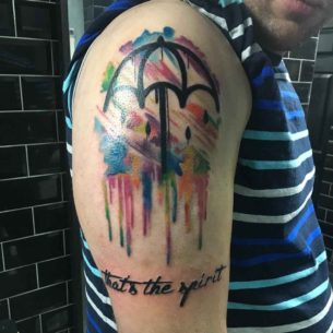 Watercolor Umbrella Tattoo