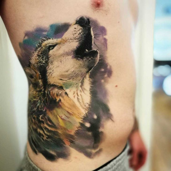 side tattoo wolf howling realism