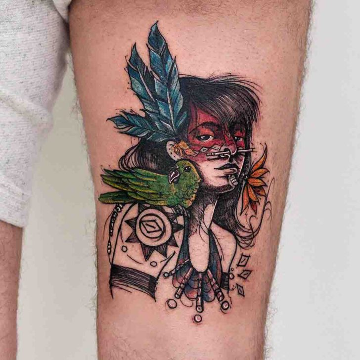 drawn indian tattoo on thigh