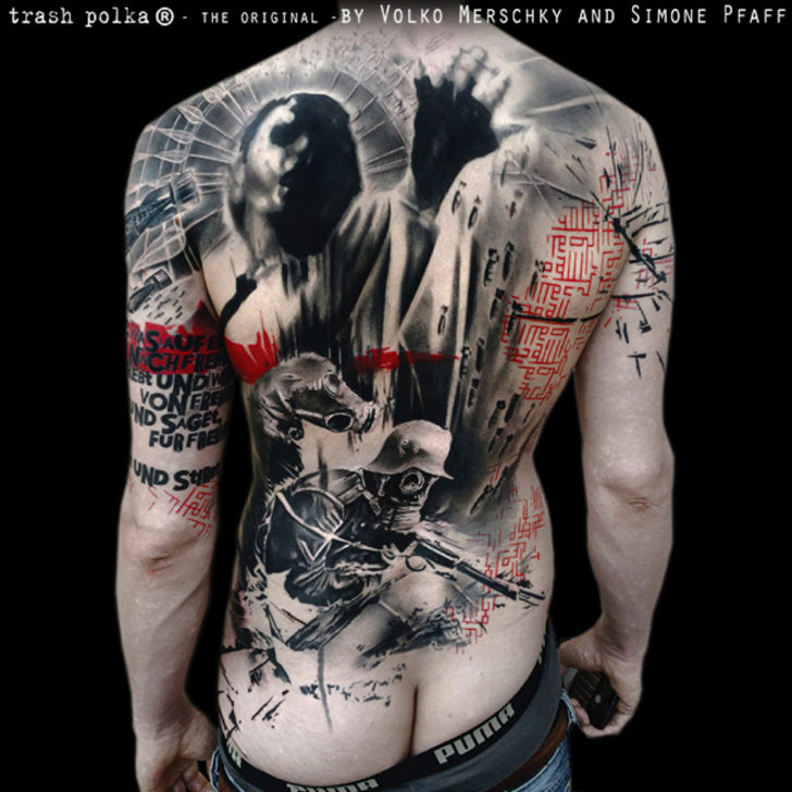 full back trash polka tattoo