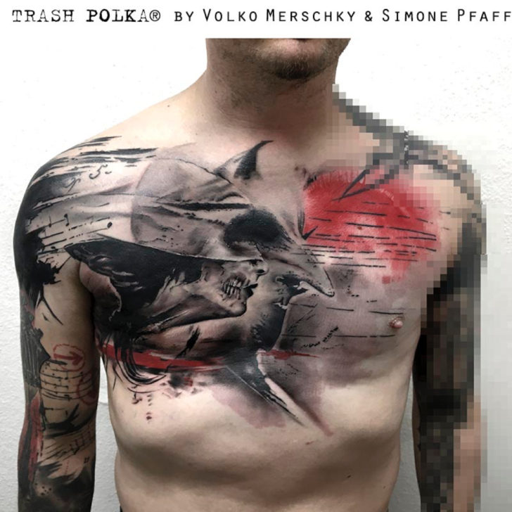 cross tattoo on back by Volko Merschky and Simone Pfaff tattoo
