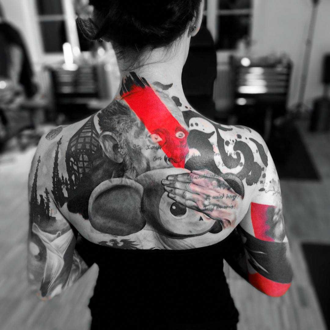trash polka tattoo for girl on shoulder blades
