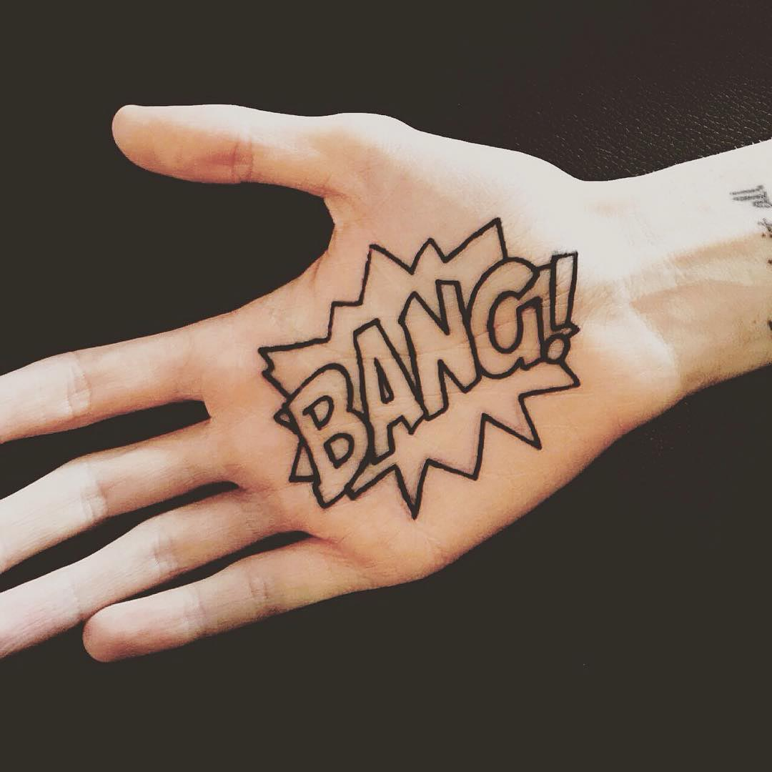 bang tattoo on palm by aidan rouse