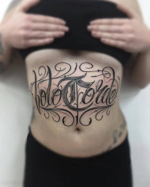 Belly Lettering Tattoo Chicano
